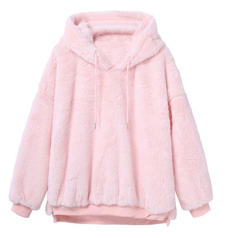 HTB1NngvajzuK1RjSsppq6xz0XXao - 2019 Women Hoodies Sweatshirts Winter Warm Hooded Tops Loose Soft Cute Coat Harajuku Ladies Basic Kawaii Pullover Sweatshirts