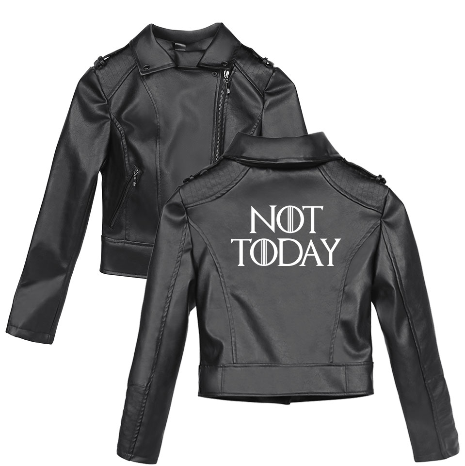2019 New arya stark-not today printing Slim fit Windbreaker Women Slim fit Zipper Fashion Trend Casual Jacket Tight   leather