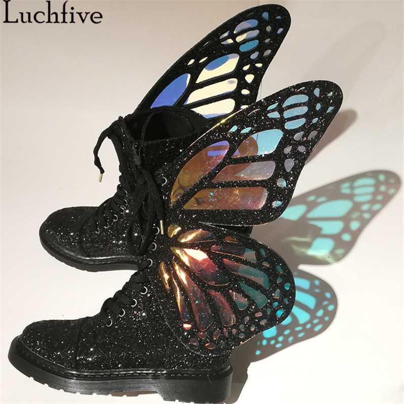 Luchfive/Новинка 2019 г., женская обувь на плоской подошве с лазерной отделкой в виде крыльев бабочек, женские ботильоны на шнуровке с молнией сбок