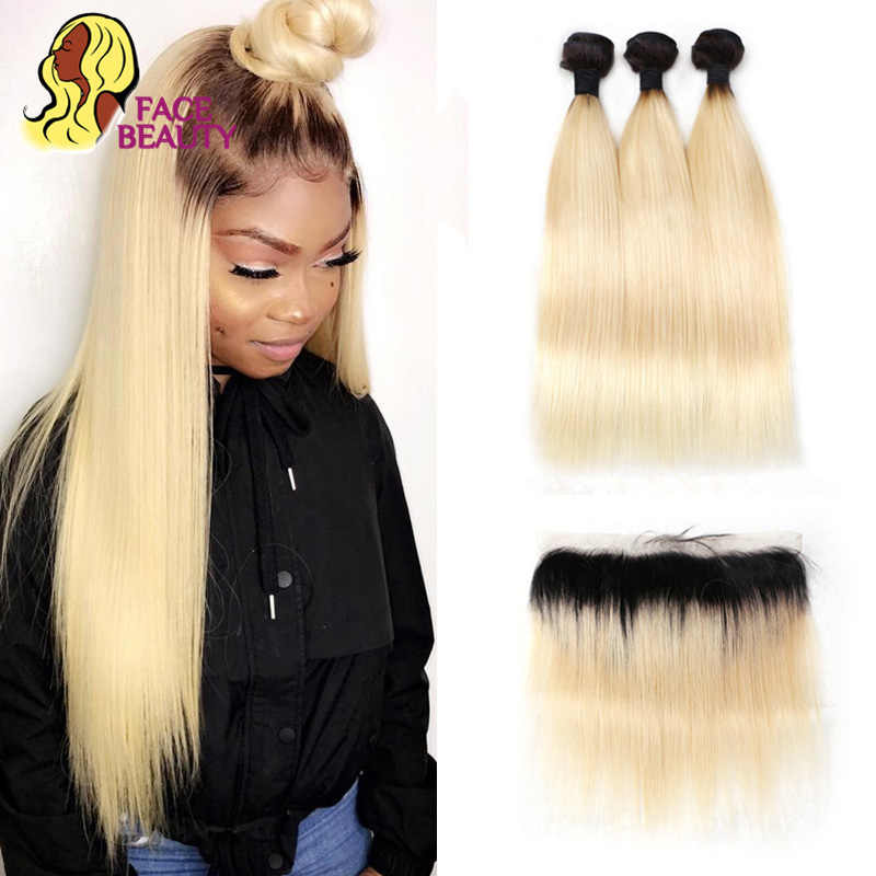 Facebeauty 1B 613 Honey Ombre Blonde Remy Weft Brazilian Straight Human Hair 2/3/4 Bundles with 13x4 Lace Frontal Closure Hair