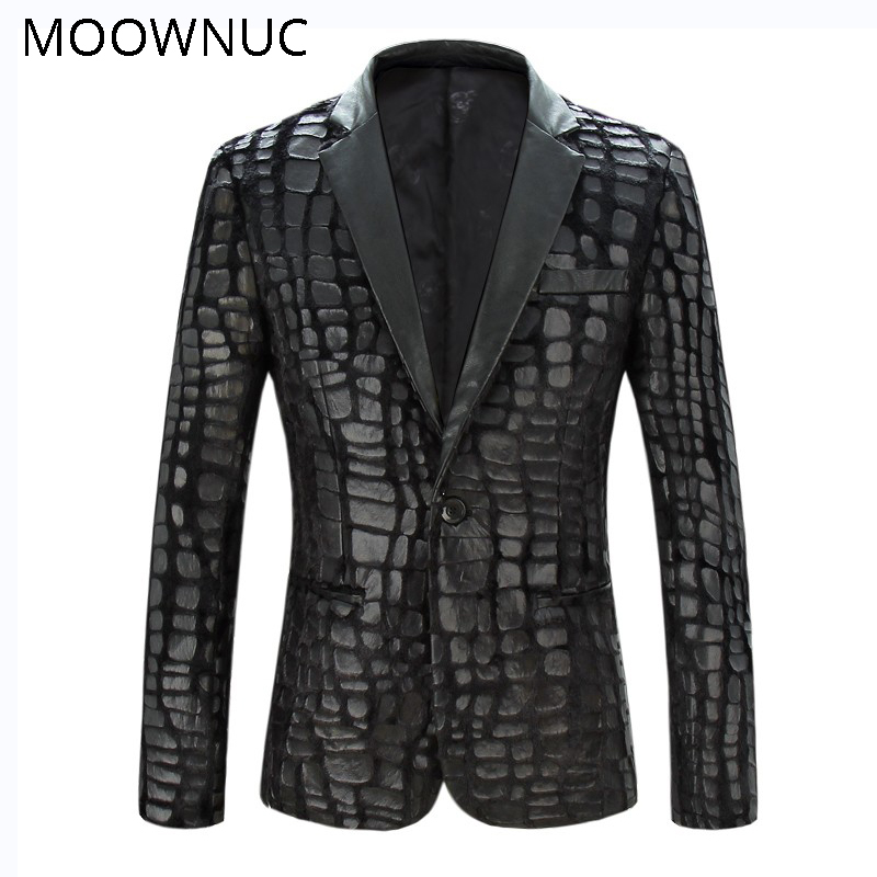 Blazers Black Stage Costumes Fashion Coat Brand Spring Casual Suit New Thin Section Men Male Slim Fit MOOWNUC Personality Fit