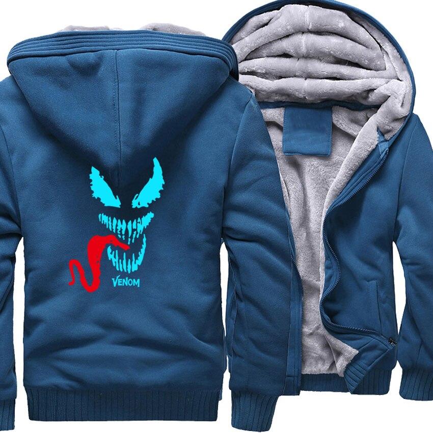 Luminous New Design Venom Series Thick Men's Tracksuit Tops Hot Selling Male Hooded Fleece Warm Streetwear Fashion Brand Jacket