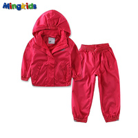Mingkids High quality girl outdoor children's set waterproof windproof suit pants and hooded jacket European Size Clearance