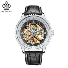 Automatic Watch MG ORKINA Brand Mens Watches Big Dial Geared Case Leather Band Golden Skeleton Mechanical Male Relojes Watch Men