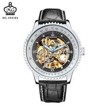Автоматические Часы MG ORKINA Марка Мужские Часы Большой Циферблат Мотор Случае Кожаный Ремешок Золотой Скелет Механическая Мужчины Relojes Часы Мужчин
