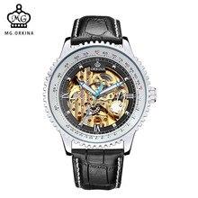 Reloj Automático MG orkinia marca hombre Relojes gran Dial Geared funda cuero banda oro esqueleto mecánico hombres reloj