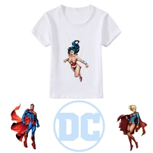 Printing Justice League Superman Cool animation patterns Modal Kidswear, Boy/girl Summer T-shirt Short Sleeve White Kid Clothes dc comics justice league the flash graphics printed summer round neck short sleeve t shirt blended sweat absorbing fitness shirt