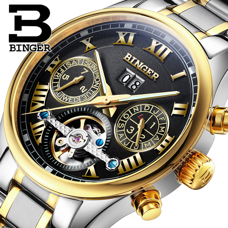 Switzerland BINGER Men's watch luxury brand Tourbillon sapphire luminous multiple functions Mechanical clock B8602-10 binger 100