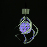 7-Colour Solar Powered LED Wind Chimes Wind Spinner Outdoor Hanging Spiral Garden Light Courtyard Decoration