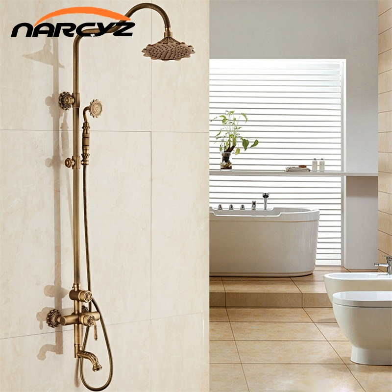 New arrival Antique Brass Finish Bathroom Rainfall With Spray Shower Durable Brass Construction Faucet Set Home