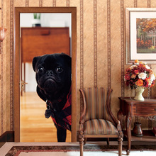 2pc set 3D Waterproof Black Dog Animal Door Stickers House Decoration Sticker PVC Mural Film Self