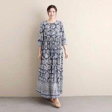 2018 Summer New Arrival female blue white Three Quarter Sleeve dress national style cotton linen printed long original