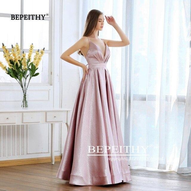 BEPEITHY Pink Glitter Long Evening Dress Party Elegant Sexy Cross Back A-line Shine Prom Dresses Vestido De Festa 2019 New 5