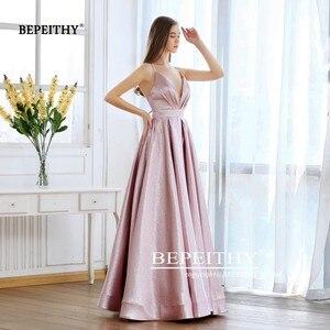 Image 5 - BEPEITHY Pink Glitter Long Evening Dress Party Elegant Sexy Cross Back A line Shine Prom Dresses Vestido De Festa 2020 New