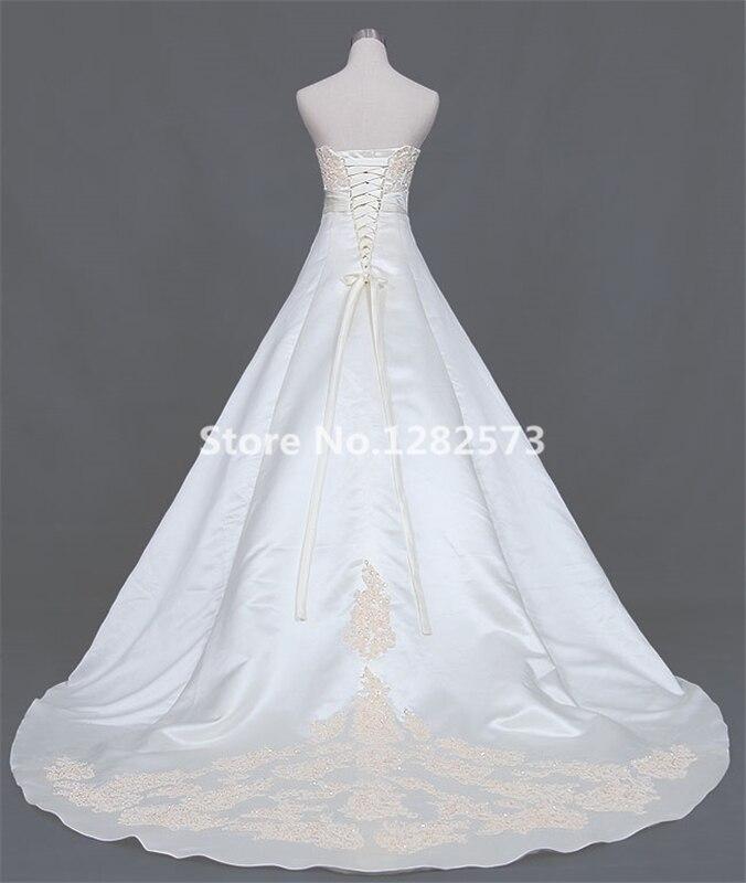 Ivoor een lijn trouwjurk lange elegante trouwjurken goedkope - Trouwjurken - Foto 5