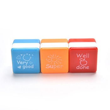 School Scrapbooking Stamp DIY Teachers Self Inking Praise Reward Stamps Random color Cartoon Kids Stamp Motivation Sticker image