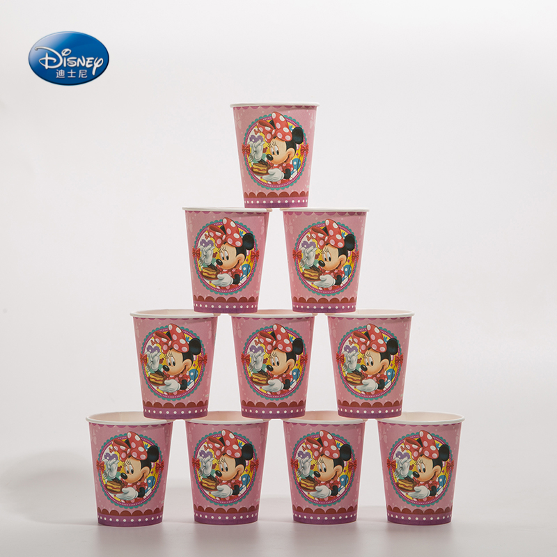 Disney Party Supplies Minnie Mouse Theme Party Decoration Disposable Tableware One-off Paper Cups Wedding Decoration 6pcs/lot