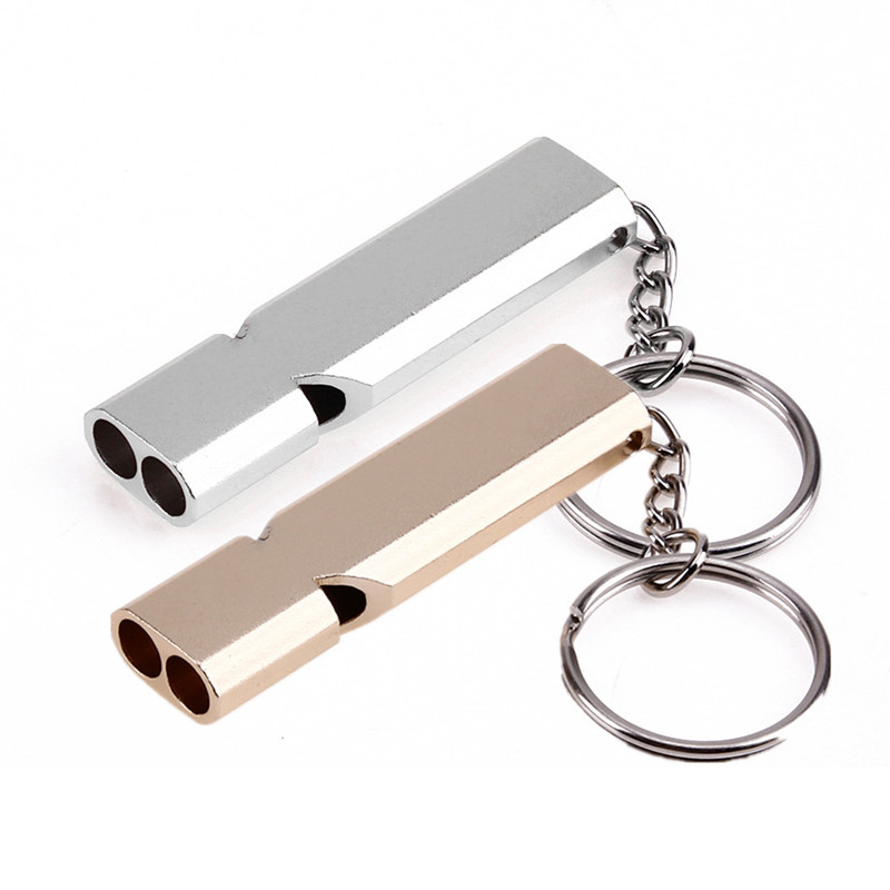 Mini Portable 150db Double Pipe High Decibel Outdoor Camping Hiking Survival Whistle Multi-Tools Emergency Whistle Keychain