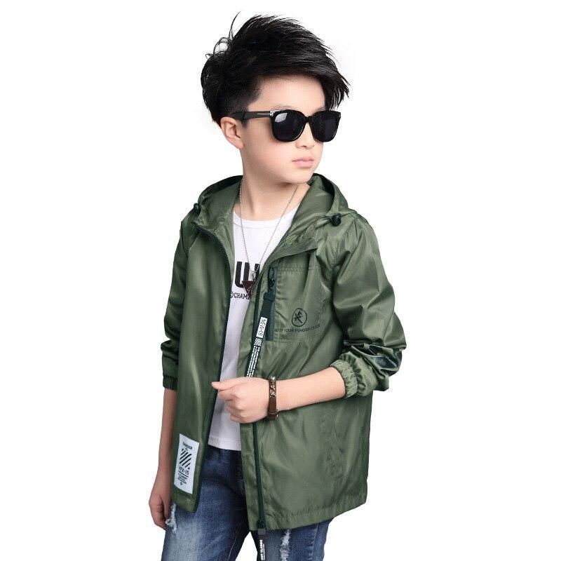 320413987c5 Chaqueta gabardina para niño nueva 2019 ropa de abrigo de manga larga para  niños cortavientos niños gabardina abrigo negro azul blanco 6- 16 años