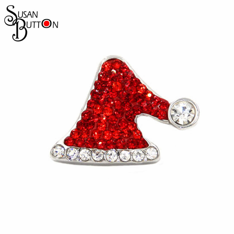 Hot Sale Christmas Santa Claus Hat Snap Button Charms Clay Crystal Snap Button Jewelry fits Snap Button Bracelet Necklace SB228