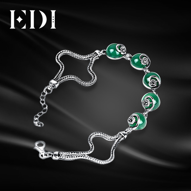 EDI Fashion Women 925 Sterling Silver Bracelet DIY Green Round Stone Bangles Anklets Bracelets For Women Leg Designer Jewelry