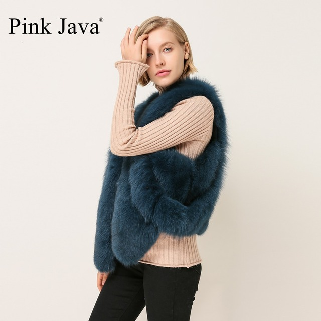 186b8bb7c6 Pink Java QC1859 FREE SHIPPING real fox fur vest winter women dress luxury  fur gilet new arrival wholesale short vest