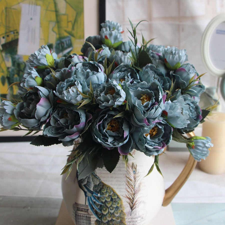 みすぼらしいシックな花束ヨーロッパかわいい花嫁の結婚式小さな牡丹シルクフラワー格安ミニ偽花家の装飾のため屋内