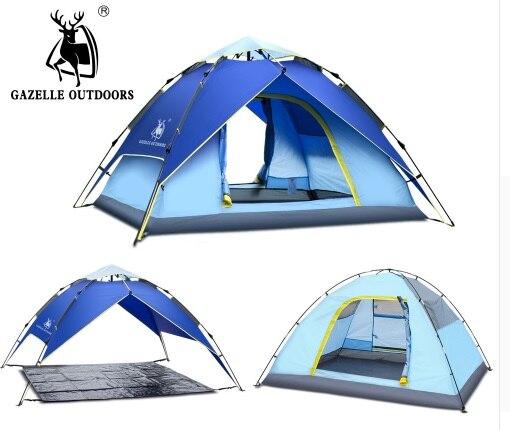 Tente de Camping en plein air hydraulique automatique famille 4 personnes pêche touristique tentes de plage 3 Perosn jardin Gazebo tente automatique