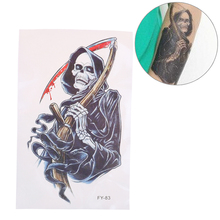 JETTING Hot 2pcs Temporary Tattoo Stickers Waterproof Flash Fake Skull Blood Sickle Body Art Evil Death Party Gift Punk Makeup