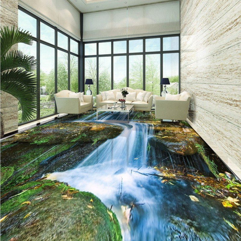 Free Shipping Stream river stone water Falls bathroom stickers non-slip square coffee house bedroom living room flooring mural the stone house