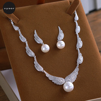 Micro Inlays Zircon Wedding Jewelry Sets Wing Style Necklace Earrings Cubic Zirconia Simulated Pearl Swan Princess Crowns Tiaras