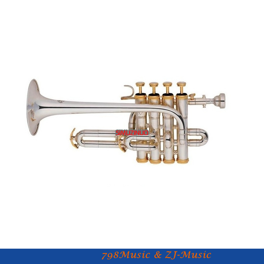 New Silver Plated Piccolo Trumpet 4 Piston Bb/A Key With Case professional silver nickel rotary valve cornet trumpet new bb horn with case