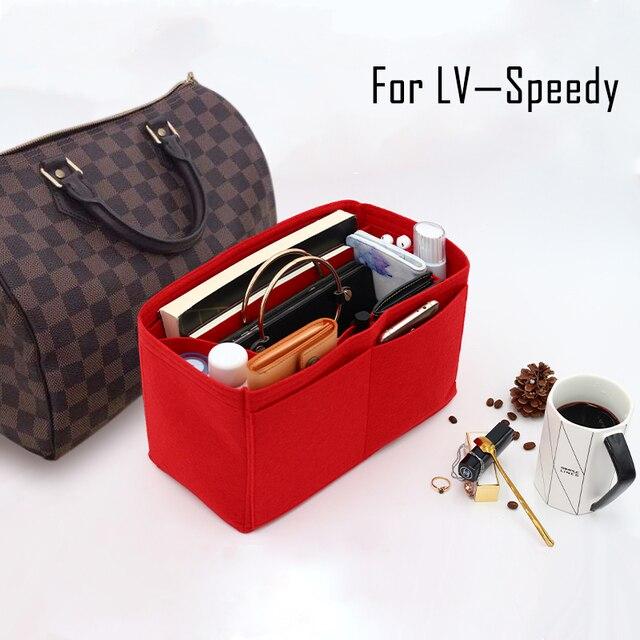 Сумка для вставки из фетра для SPEEDY 25 30 35, женская сумка Органайзер с карманами, сумка для косметики