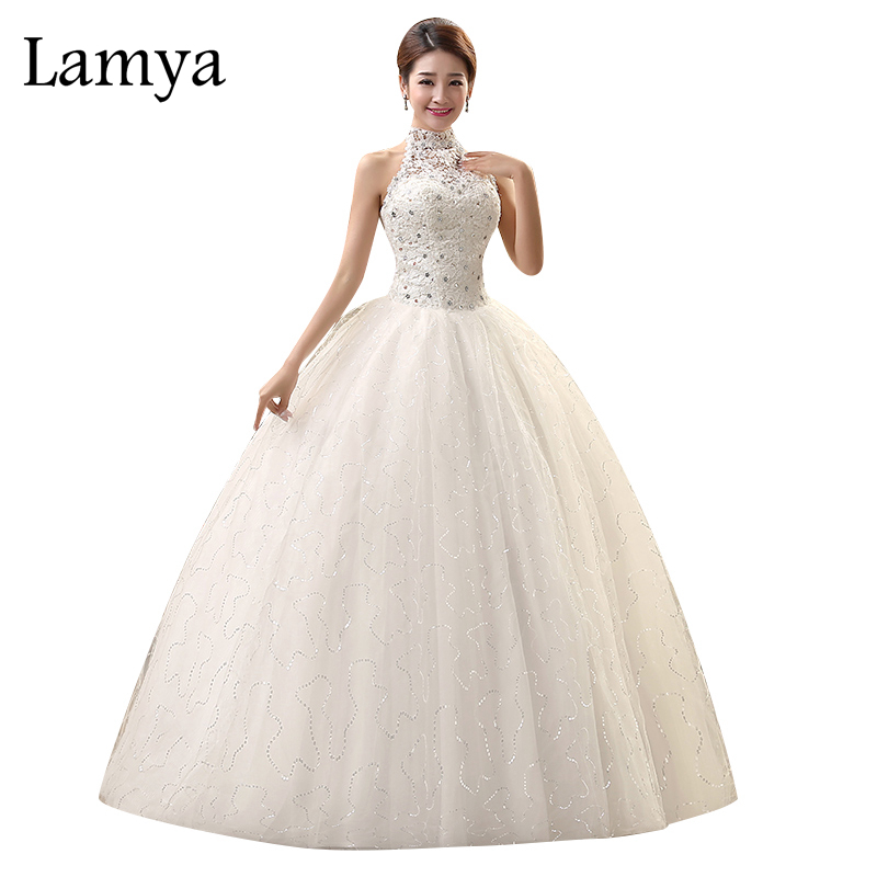 Lamya hoge hals trouwjurk Sexy Lace Up Backless Vintage prinses Tulle baljurk Goedkope Chinese Shining bruiloft decoratie
