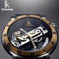IK Perspectiva Diseño Grabado Hueco de Cuero Caja de Oro Esqueleto Mecánico Automático Relojes Hombres Marca de Lujo Heren Horloge