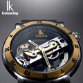 IK Perspective Design Hollow Engraving Gold Case Leather Skeleton Automatic Mechanical Watches Men Luxury Brand Heren Horloge