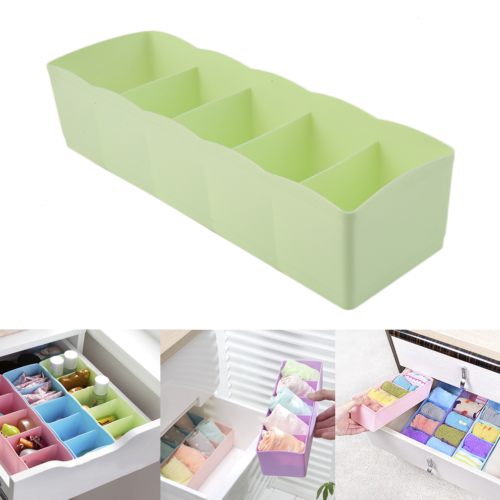 Multifunction Underwear Socks Tiny Things Storage Box Plastic Finishing Box Five Grids Drawer Desk Bed Cabinet