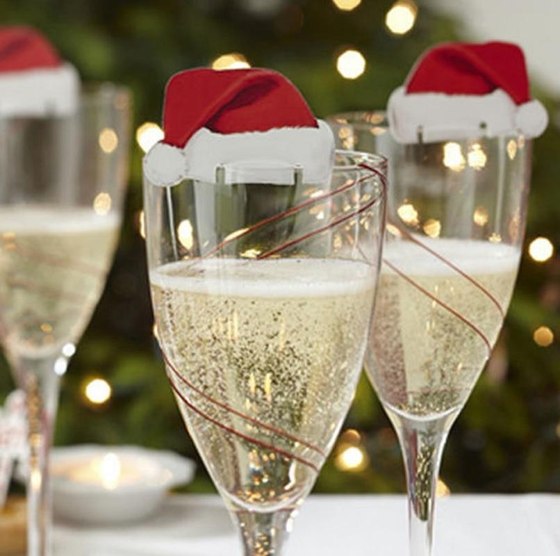 10 шт. рождественское красное вино открытка Рождественская шляпка открытка праздничные украшения Рождественская винная чашка флаг