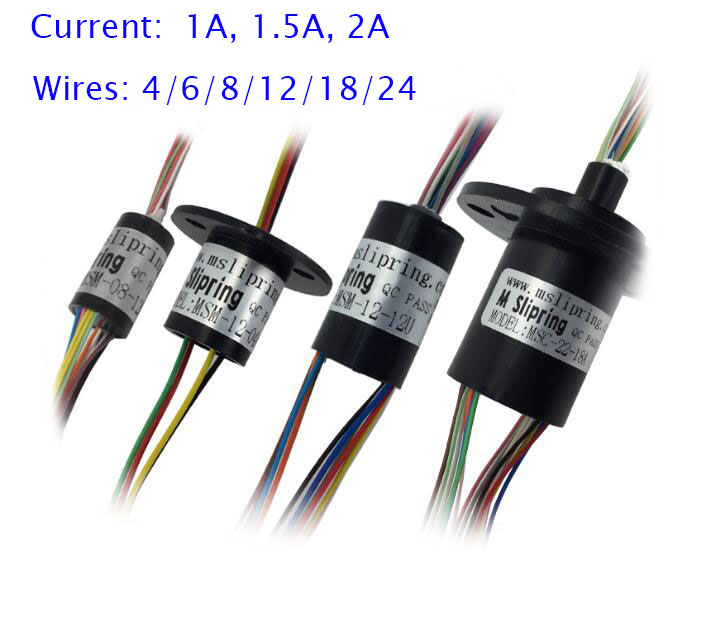 Free Shipping Conductive Slip Ring Collecting Ring 4/6/8/12/18/24 Wires 1/1.5/2A Diameter 8.5/12.5/15.5/22mm 5 11