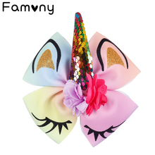 7 Sequin Hair Bow for Girls Glitter Printed Hairbows With Clip Floral Horn Tie Accessories