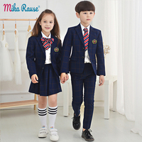 5 шт., новые костюмы в клетку для мальчиков, британский стиль, Блейзер, детская одежда для девочек, школьная форма, детская одежда для детског