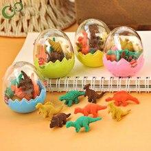 2 sztuk studenci stacjonarne prezent nowość Mini jajo dinozaura ołówek gumka do mazania dinozaur formy zabawki dla dzieci GYH