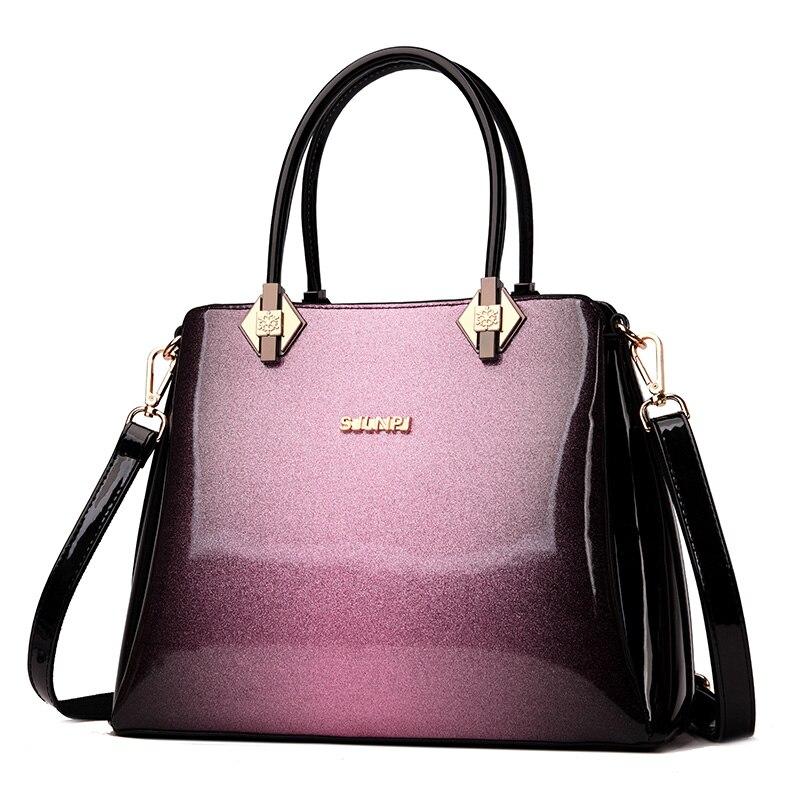 2018 new luxury shoulder women leather handbag designer high quality patent leather messenger bag ladies red wedding package box