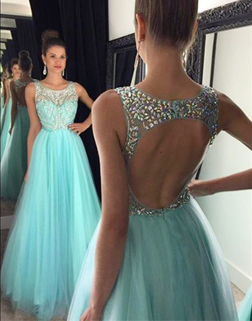Vestido Longo 2016 Design A Line Prom Gowns Blue Glitter Sequin Beaded Top  Formal Evening Dresses Girls Special Occasion Dresses 057733171449