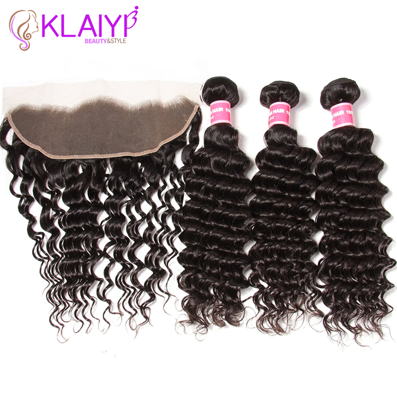 Klaiyi Hair 13X4 Ear To Ear Lace Frontal Closure With Bundles 100% Human Hair Peruvian Deep Wave Bundles With Frontal Remy Hair