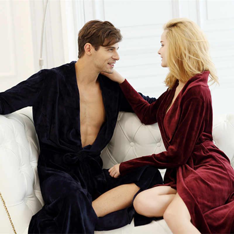 ... Women and Men High Quality Super Soft Fleece Velvet Couple Full Length  Bathrobe Robes Lounge Wear d1e370115