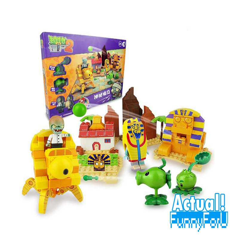 Plants vs Zombies 050302 Mysterious Egypt Building Bricks Blocks anime action figures My world Minecraft Toys for childrenGifts plants vs zombies garden maze struck game legoings building bricks blocks set anime figures my world toys for children gifts