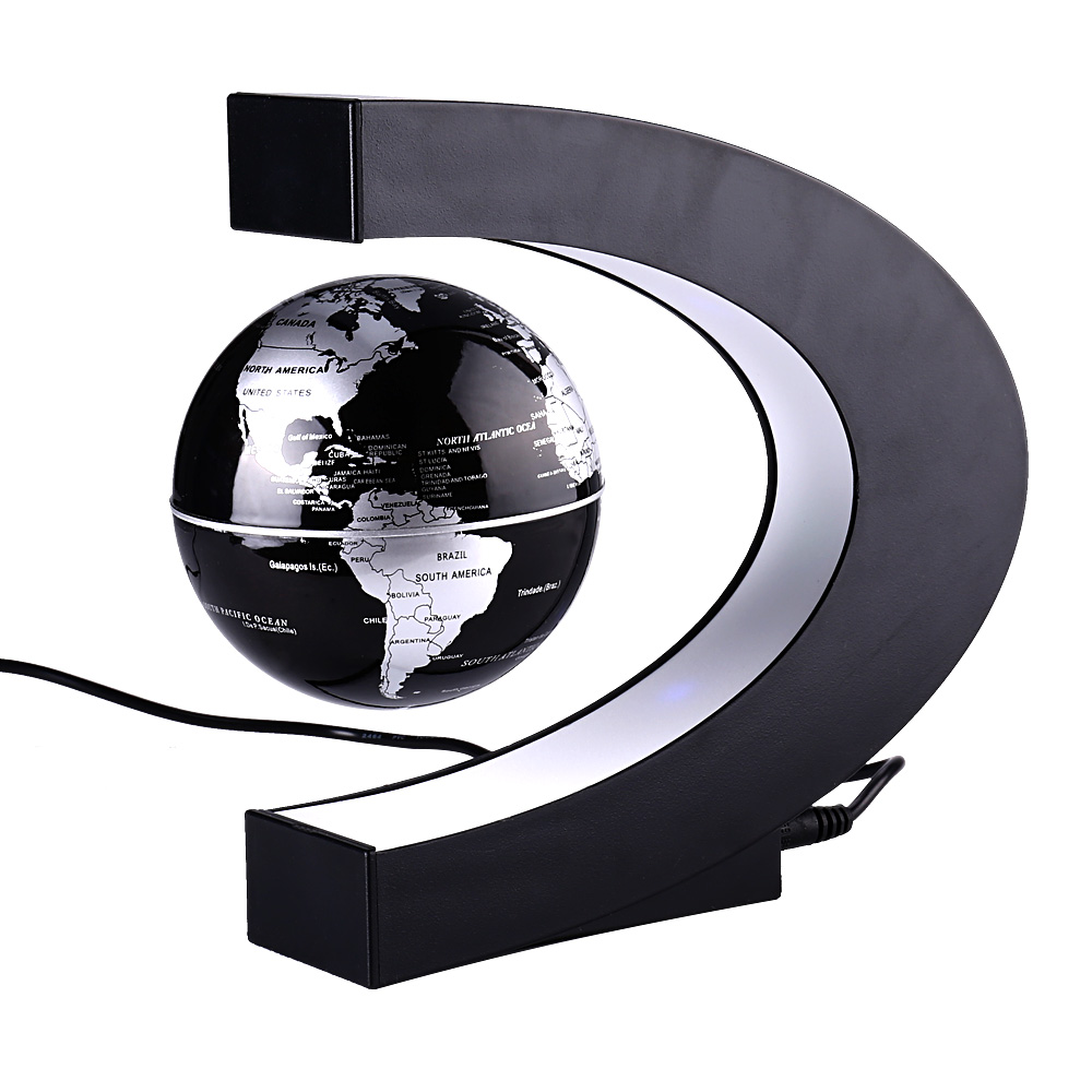 New arrive 4 inch C Shape Electronic Magnetic Levitation Floating Globe World Map with LED Lights Birthday Gift Decoration Home