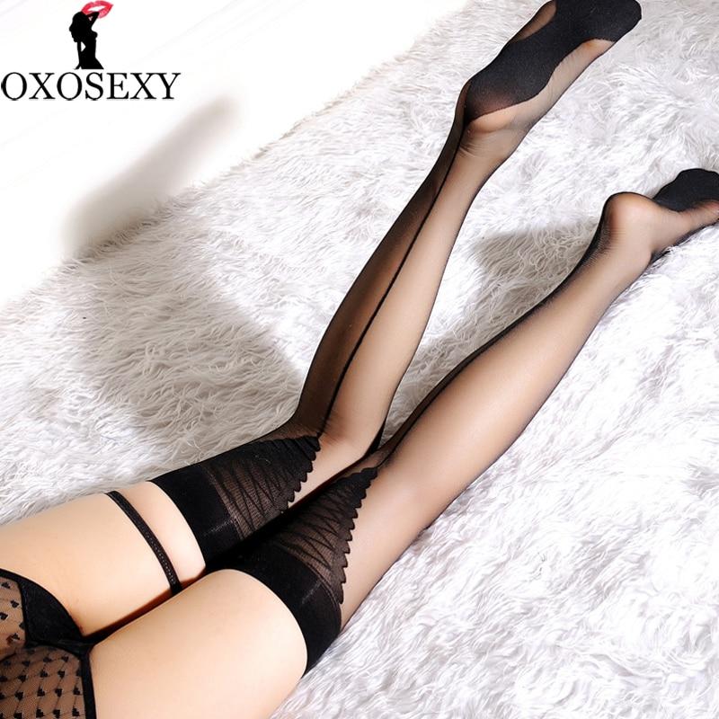Mature amateur stocking tops