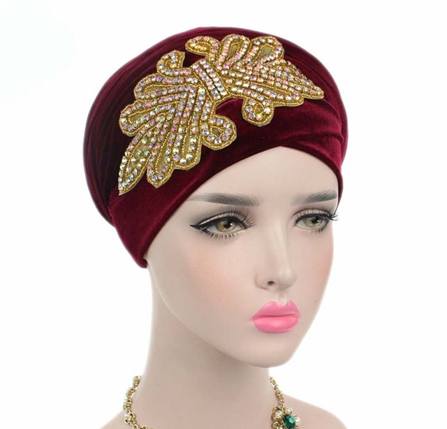 New fashion women gorgeous Embellished Crystal Jewelry Extra Long Velvet  Turban Hijab Head Scarf Head Wraps Turbante 3a992abaa93